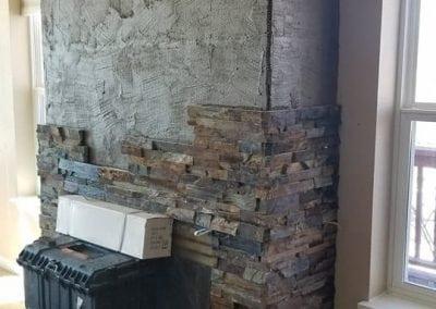 dark stone fireplace
