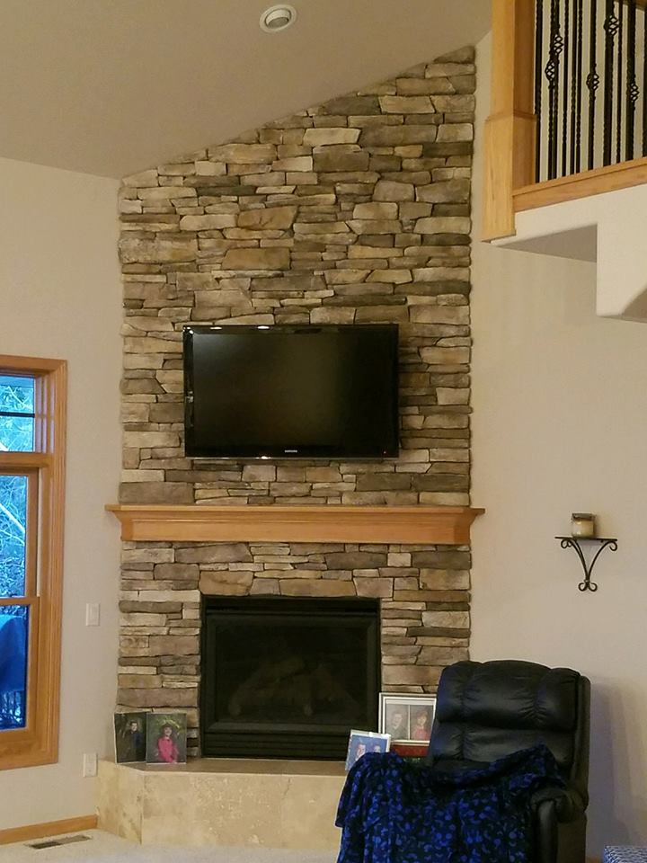 Light Stone Fireplace Cs Construction